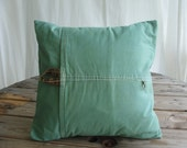 Featured in Pure Green Magazine SALE repurposed  tent vintage canvas jade canvas pillow cover