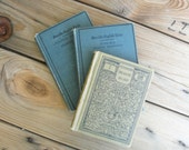 vintage book collection SALE blue and gray antique classic book set of three french blue and dove gray