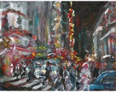 Original acrylic landscape painting 42nd Street New York night scene 8x10