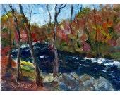 Original acrylic landscape painting 6x8 Autumn Colors dark river