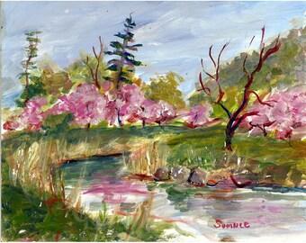 Spring Cherry Blossoms Original acrylic landscape painting 8x10