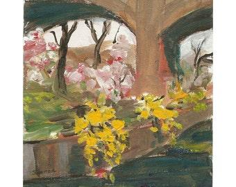 Cherry blossoms forsythia Branch Brook bridge 8x10 Original acrylic landscape painting