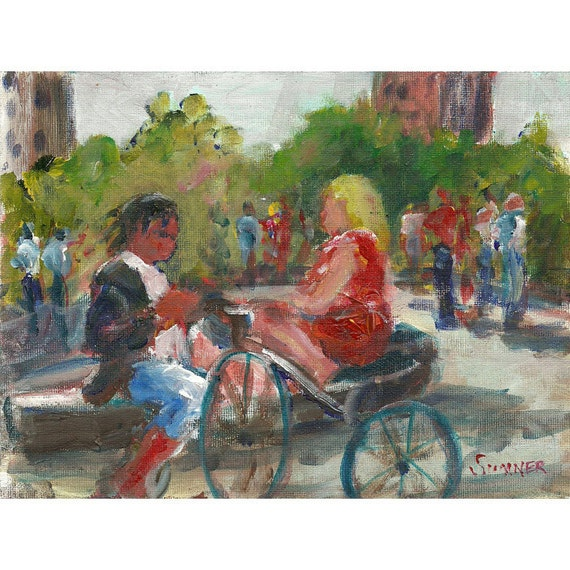 Original acrylic figure painting Washington Square Park NY people 6x8