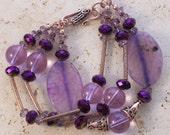 Vintage Romance 3-Strand Bracelet - Lavender Fire Agate-Crystal