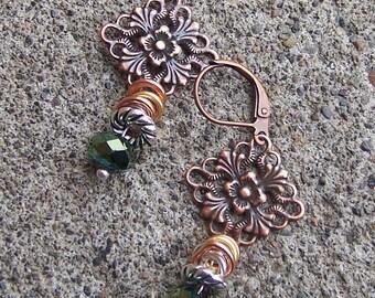 Copper Filigree Green Crystal/Mixed Metal Dangle Earrings