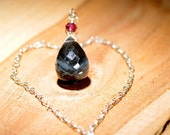 20 Carat Labradorite, Pink Tourmaline, and Sterling Silver Heart Necklace