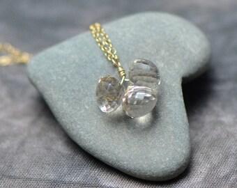 Golden Rutilated Quartz & Gold Necklace