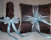 Chocolate Brown Satin With Light Blue / Baby Blue Ribbon Trim Flower Girl Basket And Ring Bearer Pillow 1