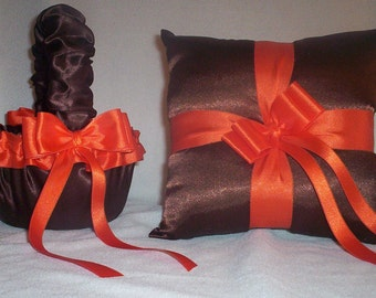 Chocolate Brown Satin With Orange Ribbon Trim Flower Girl Basket And Ring Bearer Pillow
