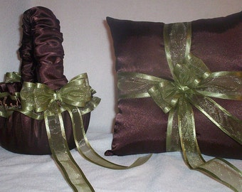 Chocolate Brown Satin With Sage Green Ribbon Trim Flower Girl Basket And Ring Bearer Pillow