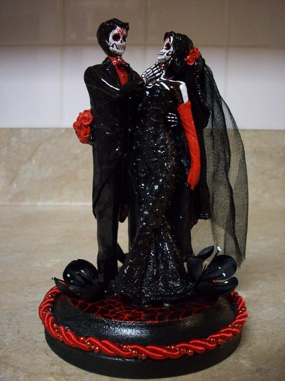 Day Of The Dead Bride And Groom Wedding Cake Topper Black Red