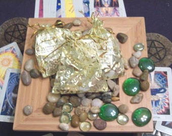 Gemstone Bag to Draw Money/Prosperity -- Quartz, Howlite, Aventurine, Citrine