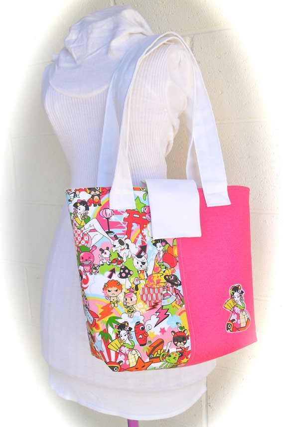 Purse Tote Bag with Pink and Rainbow Geisha and Anime Characters
