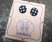 Black and White Polka Dot Fabric Earrings
