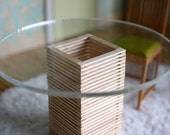 Dollhouse Miniature Modern Zen Wood Pillar Table with Acrylic Top, 1:12 Scale Dollhouse Miniature Furniture - Made to Order