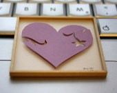 """Miniature Shadowbox Paper Wall Art, """"Heart, Pretty in Purple"""" made for 1:12 Scale Dollhouses"""