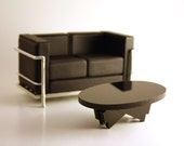 "Modern Coffee Table in Black Acrylic, Dollhouse Miniature Furniture in 1:12, One Inch Scale, ""Bow Tie"" Coffee Table"