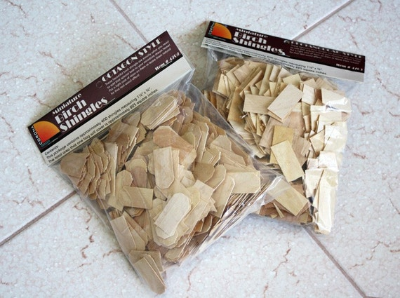 Dollhouse Miniatures Wood Shingles, 2 Pack of 400 Octagon or Rectangular Style Shingles (800 Total)