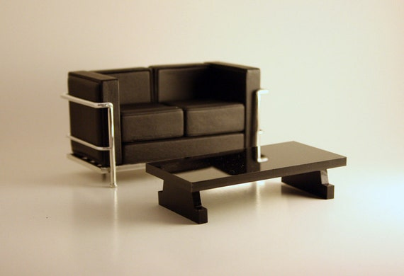 """Modern Coffee Table in Black Acrylic, Dollhouse Miniature Furniture in 1:12, One Inch Scale, Rectangular """"Low Boy, Large"""" Coffee Table"""
