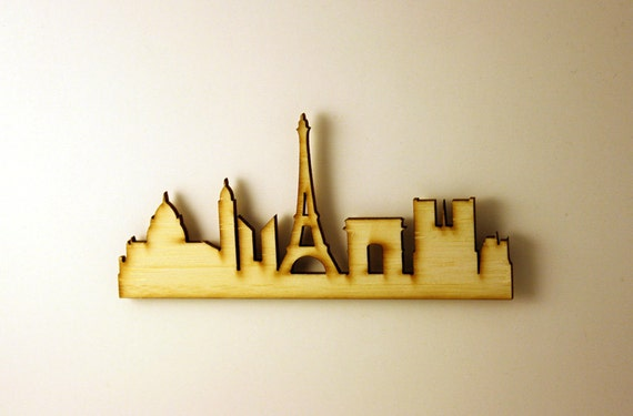 Paris Silhouette Dollhouse Miniature Wall Decor in Bamboo, Brooch Pin Included