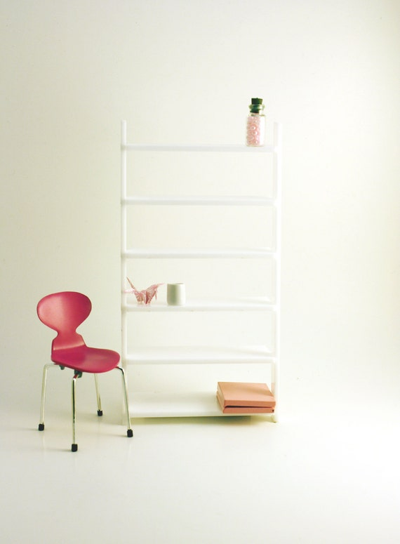 Miniature Modern Wall Leaning Bookcase, White Acrylic in 1:12, One Inch Scale, For your Modern and Contemporary Dollhouse