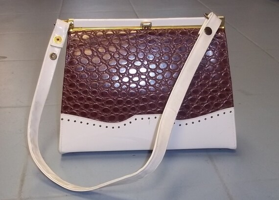 Oxford VANILLA and Chocolate two tone Top Handle Ladylike Handbag