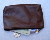 Men's or women's small brown leather pouch