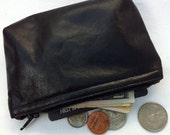Men's or women's small black leather pouch