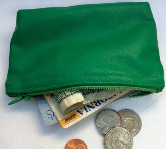 Irish green, men's or women's small leather pouch