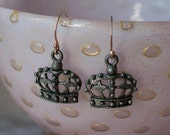 The Queen's Crown Pot Metal Upcycled Pierced Earrings