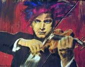 I am Music, Psychedelic Musician,Music Violinist Tuxedo,Purple Blue Red, Original illustration Artist Print Wall Art, Free Shipping in USA.