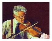 Violinist player Musician Back-lighting Stradivarius, Original illustration Artist Print Wall Art, Free Shipping in USA.