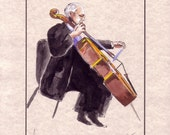 """Violoncellist Musician, Cello Music, Original Handmade Watercolor Painting on Parchment Paper, 8.5x11"""", Free shipping in USA."""