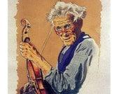 Craftman Luthier Violin Maker Folk, Coffee Color, Original illustration Watercolor Artist Print Wall Art, Free Shipping in USA.