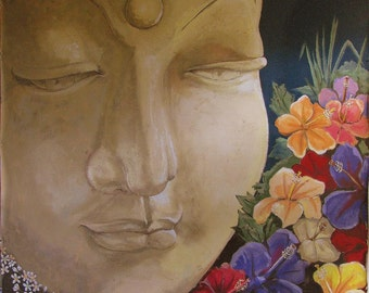 "Buddha, Hibiscus, Flowers, offering in Temple,Zen,extra large format, Wall Art, 56""x56"", Free Shipping in USA."