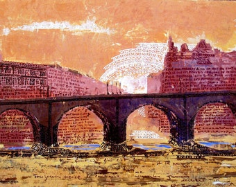 PARIS, Bridge, Pont Neuf, France, Abstract, Writing, Sunset on Seine River,Original illustration Artist Print Wall Art, Free shipping in USA