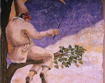Fishing the Stars, Fresco, Commedia Dell'Arte, Puccinella, Italy, moon, costume, Original illustration, Artist Print, Free Shipping in USA.