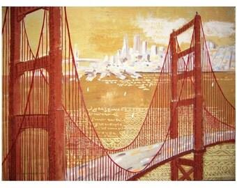 SAN FRANCISCO, The Golden Gate Bridge. Fantasy over the Golden Pass, Original Artist Print  Wall Art, Free Shipping in USA.