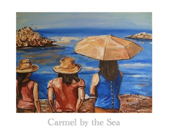 Carmel by the Sea, California Poster, 17 Mile Drive, Pebble Beach,Original travel illustration Artist Print Wall Art, Free Shipping in USA.
