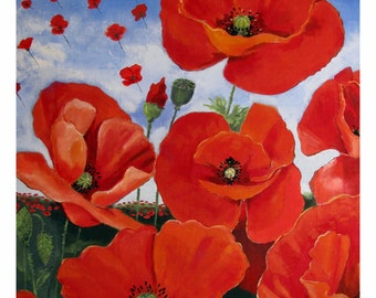 Red Poppies, Gone with the Wind, Coquelicots, Provence, Red Flowers, Original illustration Artist Print Wall Art, Free Shipping in USA.