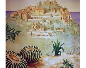 Eze Village, French Riviera,South France, Mediterranean, Cactus, Wall Art, Original illustration, Art Print, Free Shipping in USA.