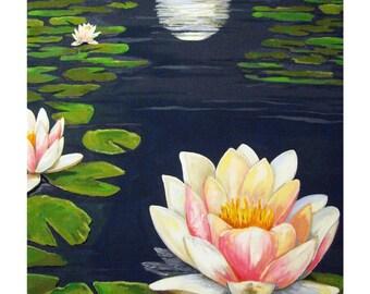 Pond Water Lily Lotus China Blue Moon,Original illustration Artist Print Wall Art, Free Shipping in USA.