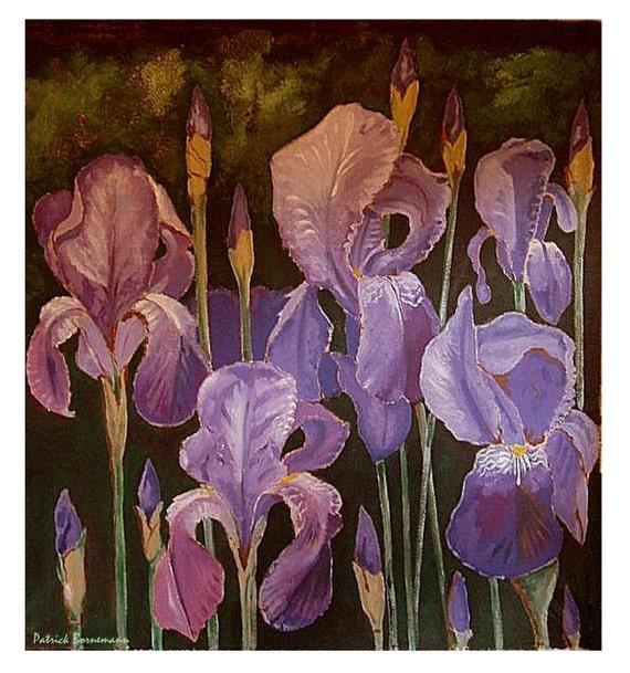 IRIS, Blossoming Bouquet Flower Blue Purple, 5, Original illustration Artist Print Wall Art, Free Shipping in USA.