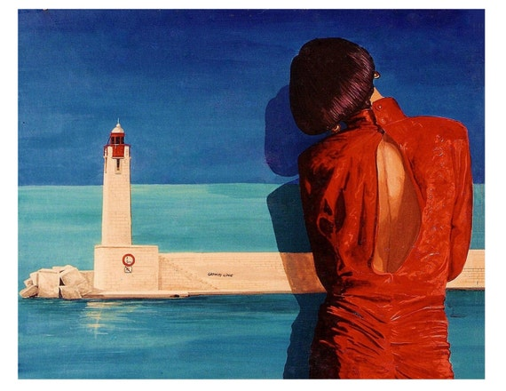 Woman at Art gallery, Red dress, Mediterranean Lighthouse,Original illustration artist Print Wall Art, Free Shipping in USA.