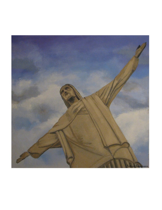 RIO Corcovado Christ the Redeemer Brazil,Original illustration, limited edition Artist Print, Free Shipping in USA.
