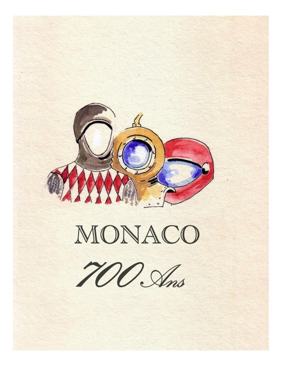 MONACO, 700 years, Celebration , Original Illustration Travel Poster Artist Print Wall Art, Free Shipping in USA.