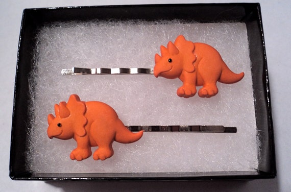 Happy Triceratops hairpins, set
