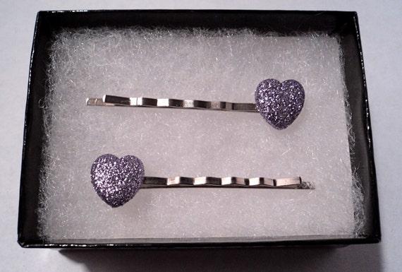 Lavender Heart hairpins, set  ON SALE