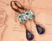 Vintage Glam - Sapphire & Aquamarine Glass - Estate Style Earrings - Wedding Bride - Bridesmaid