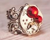 Steampunk Ring,  Vintage Textured Watch Movement,  Red Siam Swarovski Crystals